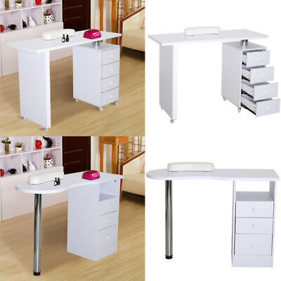 White Manicure Nail Table Station Desk Spa Beauty Salon Nail Art Equipment Unit