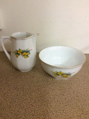 Vintage Bavarian Wattle Sugar Bowl And Milk/cream Jug