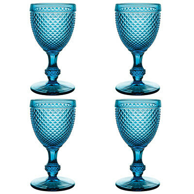 NEW Vista Alegre Bicos Azul Water Goblet Set 4pce