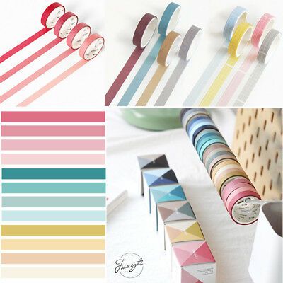 4pcs/set Solid Colour Paper Washi Tape Masking Adhesive Roll Decorative Craft