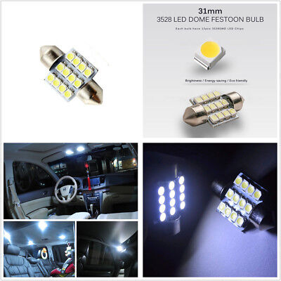 10X 31mm 12-SMD Super White Car Festoon Dome Map Light Interior Light LED Bulbs
