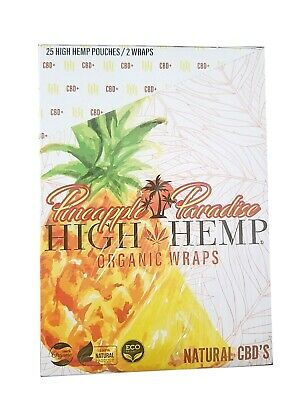High Hemp Organic Wraps 2 in a Pouch in Box 50 Wraps NEW Pineapple Paradise