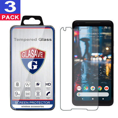 """(3 Pack) GLASAVE Tempered Glass Screen Protector Saver For """"Google Pixel 2 XL"""""""