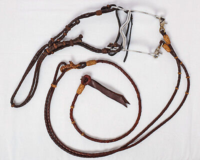 Hand-plaited Leather Bridle & Reins with Western Loose Cheek Stock Horse Bit