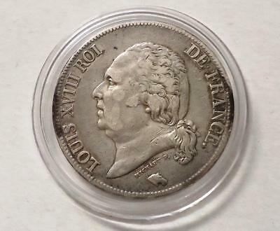 1824 France Silver Crown, *louis Xviii Roi*