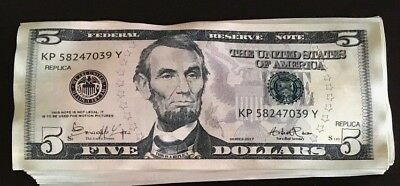 New $5 Bills Novelty Fake Money - Most Realistic Paper Money (50$ in 5's)