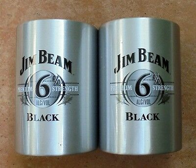 "Two New Jim Beam Light Metal Stubby Holders ""black Label""  Never Used"