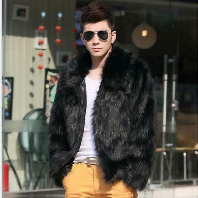 Men black fashion longhaired faux fur coat Fox fur Turn-down Collar coats