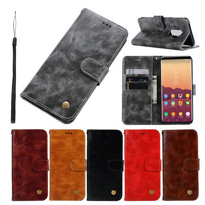 Samsung Note 9 S9+ A8 2018 Flip Magnetic PU Leather Card Slot Wallet Case Cover