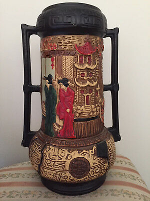 Antique Cyples Embosa Ware urn vase, dual handled, Japanese scene. Made in Eng.