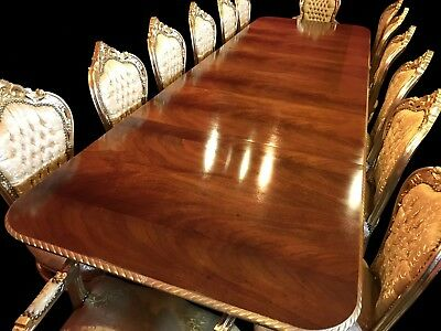 EXQUISET 12.5ft GRAND LOUIS XVI STYLE FLAME MAHOGANY TABLE PRO FRENCH POLISHED