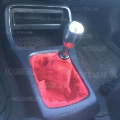 JDM Bride Red Hyper Fabric Shift Boot Racing Shift Knob Cover for Universal Car
