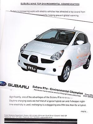 Official SUBARU Press Release and Photos of the R1e Electric Car from 2007