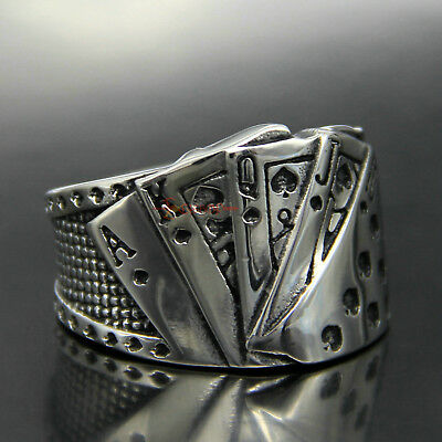 Men's Stainless Steel Casino Poker Card Game Lucky Ring Ace of Spade 10 J Q K A