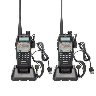 2 * BAOFENG UV-5XP 2000mAh USB Two-way Radio 8W Dual-band Walkie Talkie Earphone