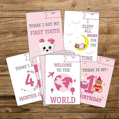 30 BABY GIRL MEMORABLE MOMENTS MILESTONE CARDS NEW BABY SHOWER GIFT (g)