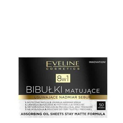 Eveline 8in1 Absorbing Oil Sheets Stay Matte Formula Face Blotting Paper 50Pcs