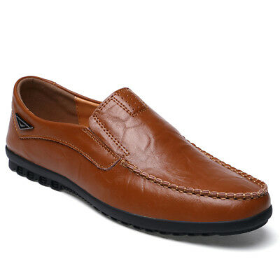 Men's Casual Leather Moccasins Slip On Flats Driving Loafers Comfort Boat Shoes