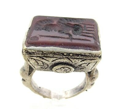 Post Medieval Silver Ring With Carved Intaglio Carnelian Stone Warrior - E4