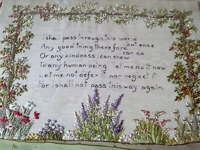 Vintage hand embroidered sampler flowers with motto signed L R Bush