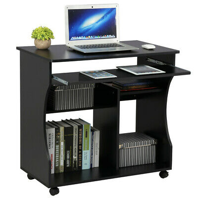 Computer Desk with Wheels & Shelves Black MDF for Office Home PC Laptop Study