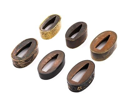 Set off 6 Japanese Fuchi for Wakizashi and Katana