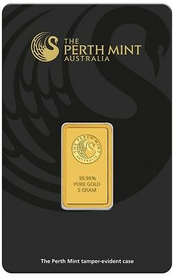 Perth Mint 5g 5 Gram Minted Gold Bullion Bar Pure 24ct 999 Gold