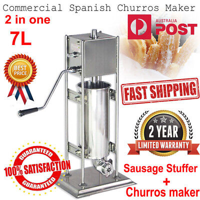 7L Churros Making Manual Machine Sausage Stuffer Stainless Steel 2In1 Commercial