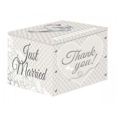 Just married thank you envelope cards wedding guests large posting gift box