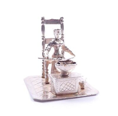 Victorian Lady With Bed Warmer Mini Statue Figurine Solid Sterling Silver 24g