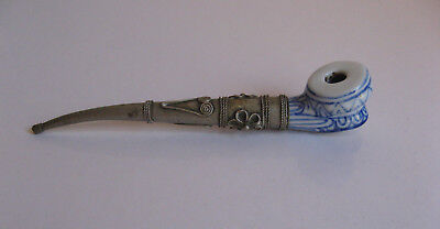ASIAN CHINESE BLUE & WHITE CERAMIC SMOKING PIPE with INTRICATE SILVER STEM