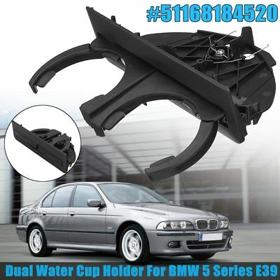 Rear Dual Drink Cup Holder Black Retractable For BMW 5 Series E39 #51168184520