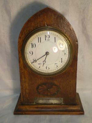 antique edwardian oak mantle clock  to L CORPL from COMRADS 24th K.O.Y.L.I 1916