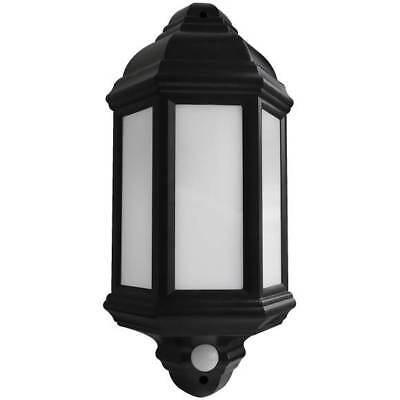 7W Led Half Lantern With Pir Black