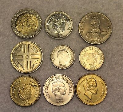 set of 9 different coins from Colombia
