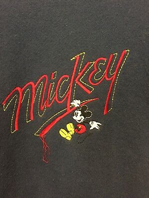 Vtg Disney Mickey & CO Sweatshirt 10-12 L Boys Navy Blue Cotton Blend