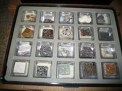 MINERALS, ROCKS, GEMS and PRECIOUS STONES in a hard plastic display case #1
