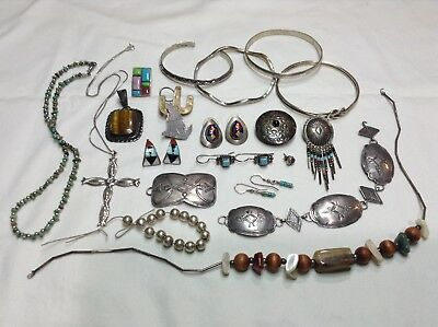 Vintage Navajo & Zuni & Mex Sterling Silver Mixed Jewelry Lot Use or Scrap