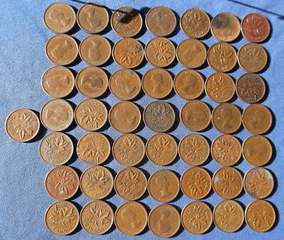 Roll of (50)1964 Canada 1 cents, average circulated condition.