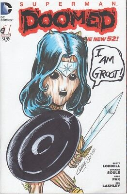 Doomed #1 Groot Wonder Woman Variant Sketch Cover / Original Art by Willie Cordy