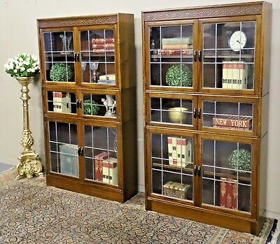 Rare Pair Of Gunn Antique Sectional Lead Light Glass Bookcase Display Cabinet