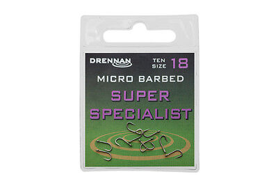 Drennan Eyed Micro Barbed Super Specialist Hooks for coarse fishing sizes 2 - 20