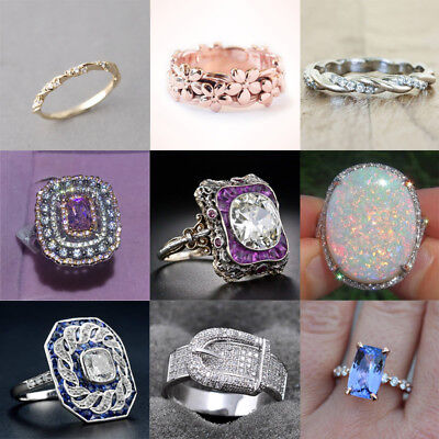 925 Silver Amethyst & White Topaz Women Jewelry Wedding Engagement Ring Sz 5-10