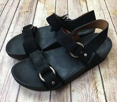 32f5e1288ac2 Women s Fitflop Via Bar Sandals Black Luxe Suede Leather 209-001 US Size 8