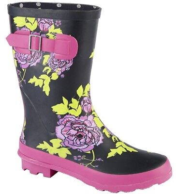 Stormwells Ladies Floral Short Wellington 23cm High Flower Strap Welly Boots Clothing, Shoes & Accessories