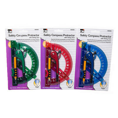 """Charles Leonard CHL80965ST Compass Safety and 6""""Swing ArmProtractor(Pack of 12)"""