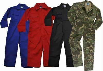 Kids Childrens Childs Boys Girls Tearaway Junior Coverall Overall Boilersuit Red