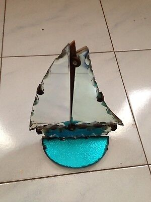 Art Deco Boat Cut Mirror Coloured Glass Wall Mirror