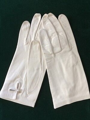Vintage WHITE KID LEATHER GLOVES, Size 7, Pearl Button Closure, Made in W. Germa