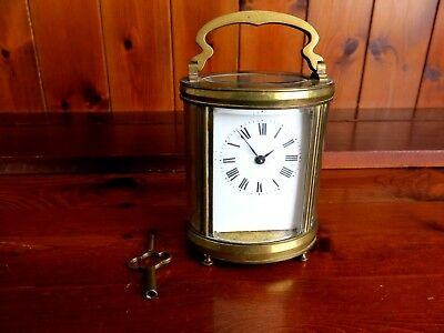 Antique Victorian Working Brass Oval Carriage Clock Mechanism For Restoration